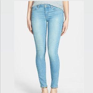 Paige 'Verdugo' Paint Splatter Ankle Skinny Jeans